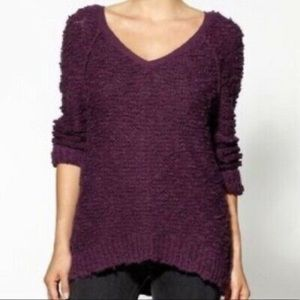 Free People Songbird Vneck Popcorn Sweater Plum XS